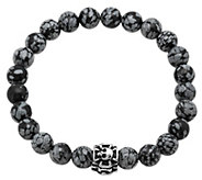 Forza Mens Agate Stretch Bracelet w/ StainlessSkull Station - J344985