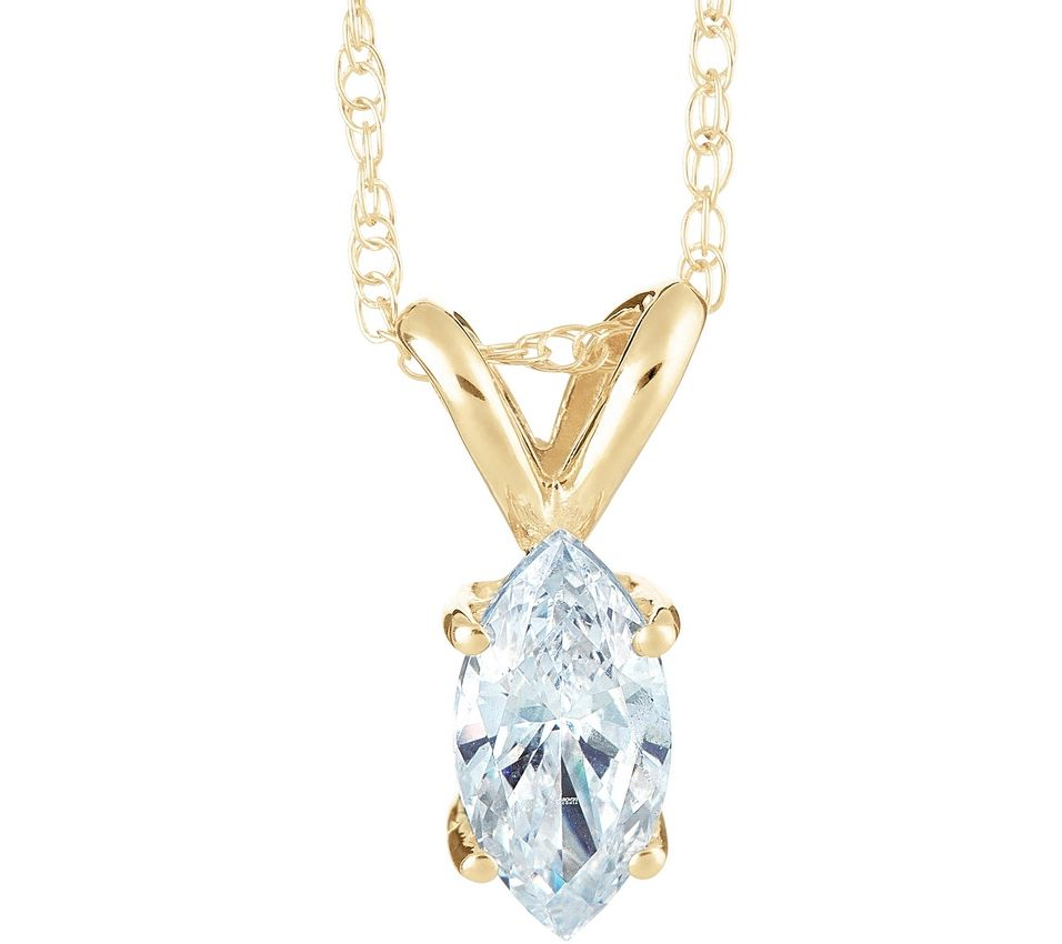 marquise pendant 14k yellow gold 1 ct by