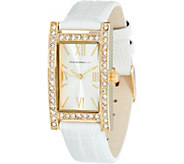 Isaac Mizrahi Live! Pave Rectangular Dial Leather Strap Watch - J345985