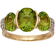 Oval 3-Stone Peridot & Diamond Ring 14K Gold 3.00 cttw - J348585