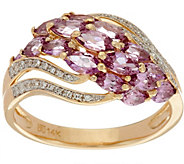 Marquise Purple Sapphire & Diamond Domed Ring, 14K Gold 1.90 cttw - J349785