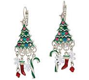 Kirks Folly Candy Cane Christmas Tree Leverback Earrings - J352485