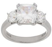 Diamonique Three Stone Ring, Sterling or 14K Clad - J354485