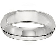 Womens 14K White Gold 6mm Milgrain Wedding Band - J375585