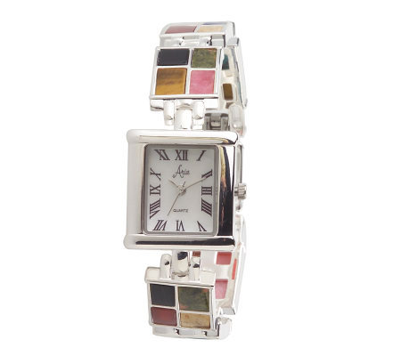 Aria Sterling Multi-Opaque Gemstone Watch