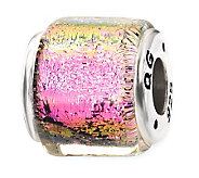 Prerogatives Sterling Pink/Green Dichroic GlassSquare Bead - J113386