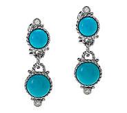 Judith Ripka Sterling Turquoise Double Drop Cabochon Earrin - J264786