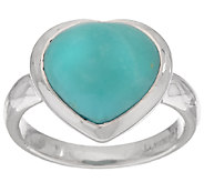 Turquoise Heart Cut Sterling Silver Ring - J268986