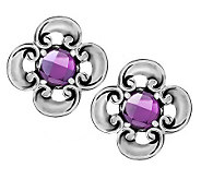 Carolyn Pollack Amethyst or London Blue Topaz Sterling Button Earrings - J279086