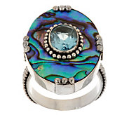 Artisan Crafted 2.00 ct Blue Topaz & Abalone Sterling Ring - J282086