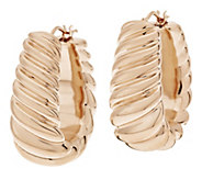 As Is Oro Nuovo 1 Bold Ribbed Twist Graduated Hoop Earrings, 14K - J284386