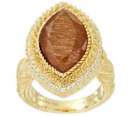 Judith Ripka Sterling & 14K Clad 5.80ct Golden Sunstone Marquise Ring - J287386