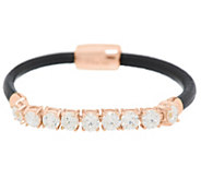 Diamonique Round Plaque Station Leather Bracelet - J289086