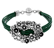 Sterling Silver Floral Design Leather Station Bracelet by Or Paz - J290286