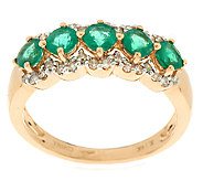 0.75 ct tw Zambian Emerald & 1/7 ct tw Diamond Band Ring, 14K Gold - J291486