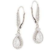 Diamonique Tear Drop Lever Back Earrings, Platinum Clad - J294186