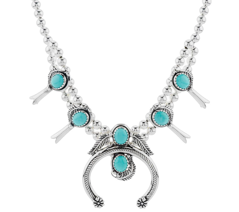 sterling silver turquoise squash blossom necklace by