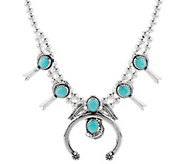 Sterling Silver Turquoise Squash Blossom Necklace by American West - J294986