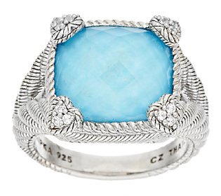 Product image of Judith Ripka Turquoise with Crystal Doublet Diamonique Ring