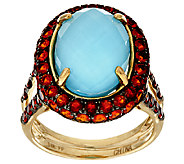 Sleeping Beauty Turquoise Doublet & Fire Opal Ring, 14K 1.00 ct tw - J295886