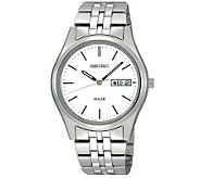 Seiko Mens Silvertone Stainless Steel Watch with White Dial - J297386