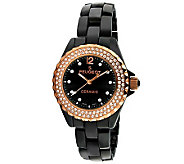 Peugeot Womens Swiss Swarovski Crystal Round Case Watch - J308586