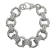 Judith Ripka Sterling Textured Link Diamonique Bracelet 7-3/8 - J311786