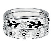 Simply Stacks Sterling Black & White Floral Ring Set - J314586