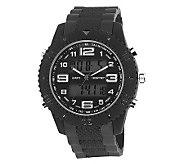 Mens USMC Regimen Black Analog-Digital Chronograph Watch - J315386