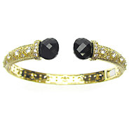 Judith Ripka Sterling/14K Clad Diamonique & Black Onyx Cuff - J315686