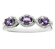 Sterling Silver Three-Stone Gemstone & DiamondAccent Ring - J315786