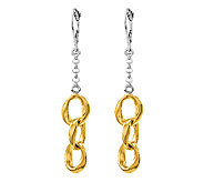 Sterling Two-Tone Polished Oval Multi-Link Earrings, Yellow - J316486