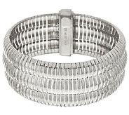 Vicenza Silver Sterling 7-1/4 Triple Row Omega Bracelet 42.3g - J317286