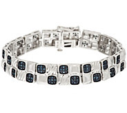 Blue Pave Cushion Diamond Tennis Bracelet Sterling,8/10ct tw, by Affinity - J317386