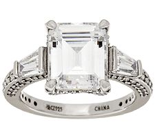 Epiphany Diamonique Emerald & Baguette Ring