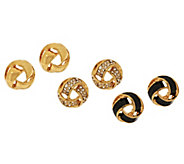 Joan Rivers Clip or Pierced Set of 3 Love Knot Earrings - J318186