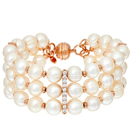 Honora Cultured Pearl 8.0mm & Crystal Triple Row Bronze Bracelet - J319986