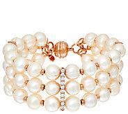 Honora Cultured Pearl 8.0mm & Crystal Triple Row Bronze Bracelet - J319986