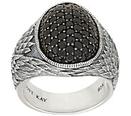Scott Kay Sterling & Pave Black Spinel Guardian Angel Ring - J320786