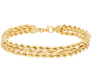 18K Gold 7-1/4 Triple Row Rope Design Bracelet, 6.9g - J322286