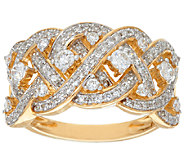 Wide Braided Diamond Ring, 14K Gold, 3/4 cttw, by Affinity - J324586