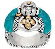 Barbara Bixby Sterling & 18K Yellow Gold Enamel Buddha Ring - J326886