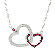 Judith Ripka Sterling Silver Double Heart 0.45 cttw Ruby Necklace - J328686
