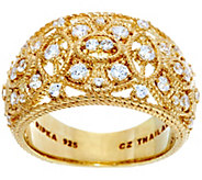 Judith Ripka Sterling 14K Clad 1/2 cttw Estate Diamonique Ring - J328786
