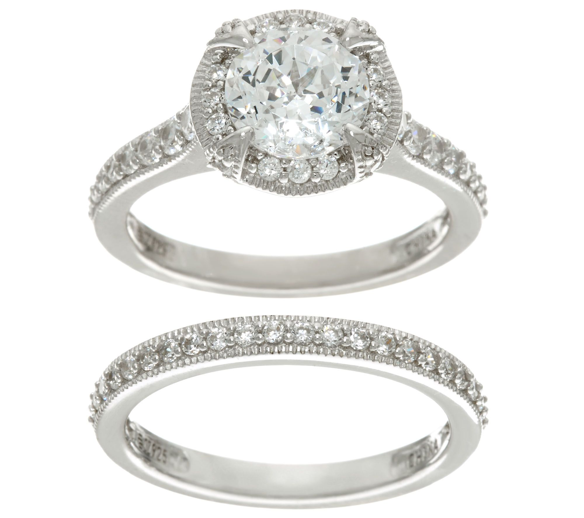 diamonique 100 facet 2 piece bridal ring set sterling page 1 qvccom - Qvc Wedding Rings