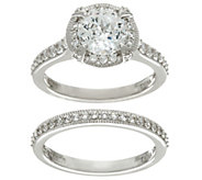 Diamonique 100-Facet 2-Piece Bridal Ring Set, Sterling - J329586