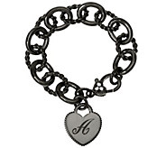 As Is Judith Ripka Sterling Black Verona Initial Heart Bracelet, 37.8g - J329786