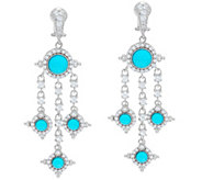 Judith Ripka Sterling Turquoise Diamonique Drop Earrings - J330486