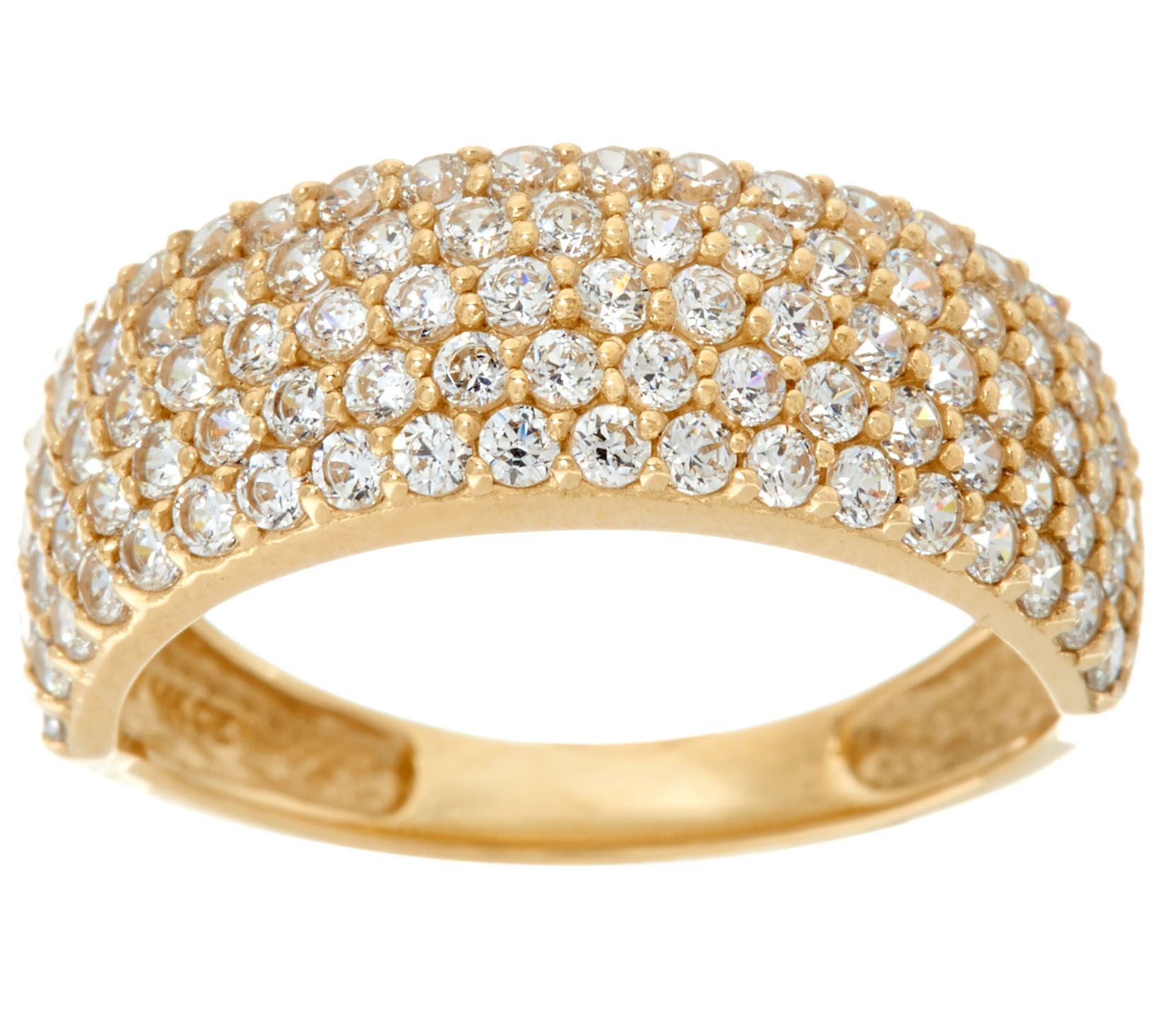 Pavé Bands: Diamonique Five Row Pave' Band Ring, 14K Gold