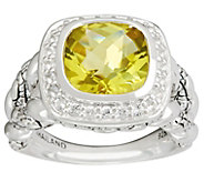 JAI Sterling Cushion Cut Green-gold Quartz Croco Texture Ring - J332786